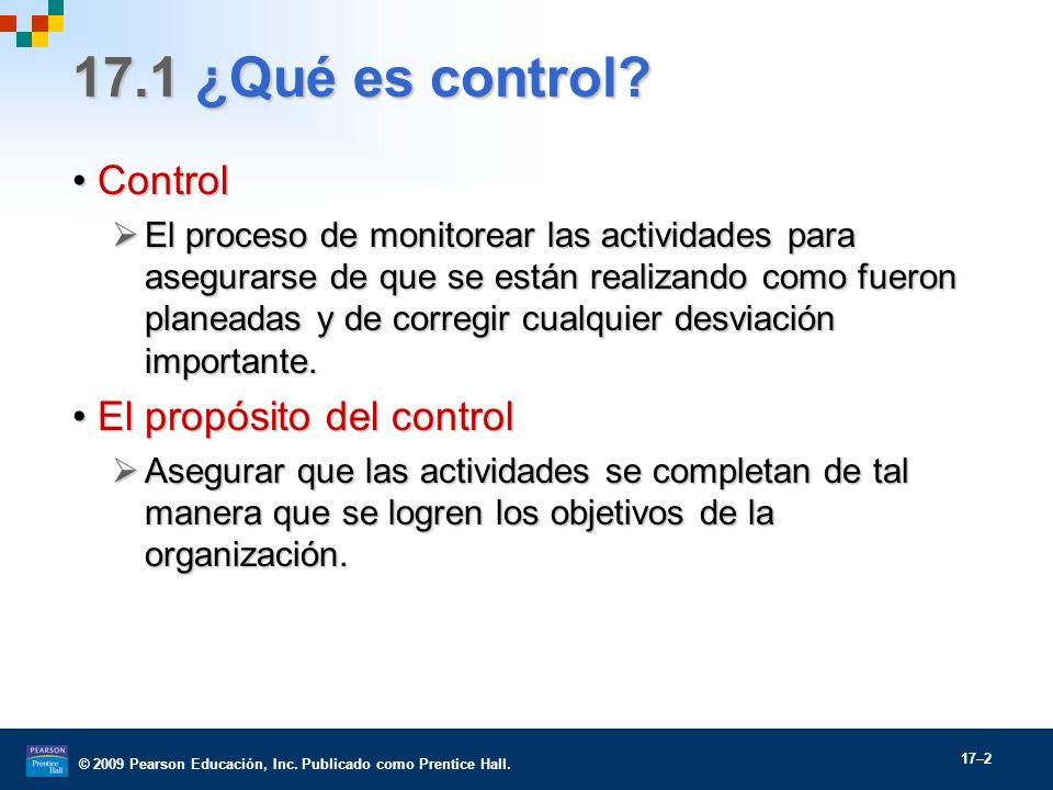 17.1 ¿Qué es control Control El propósito del control