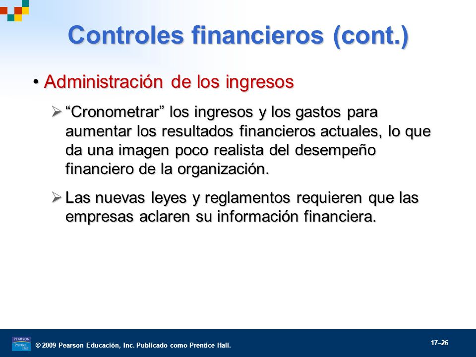 Controles financieros (cont.)