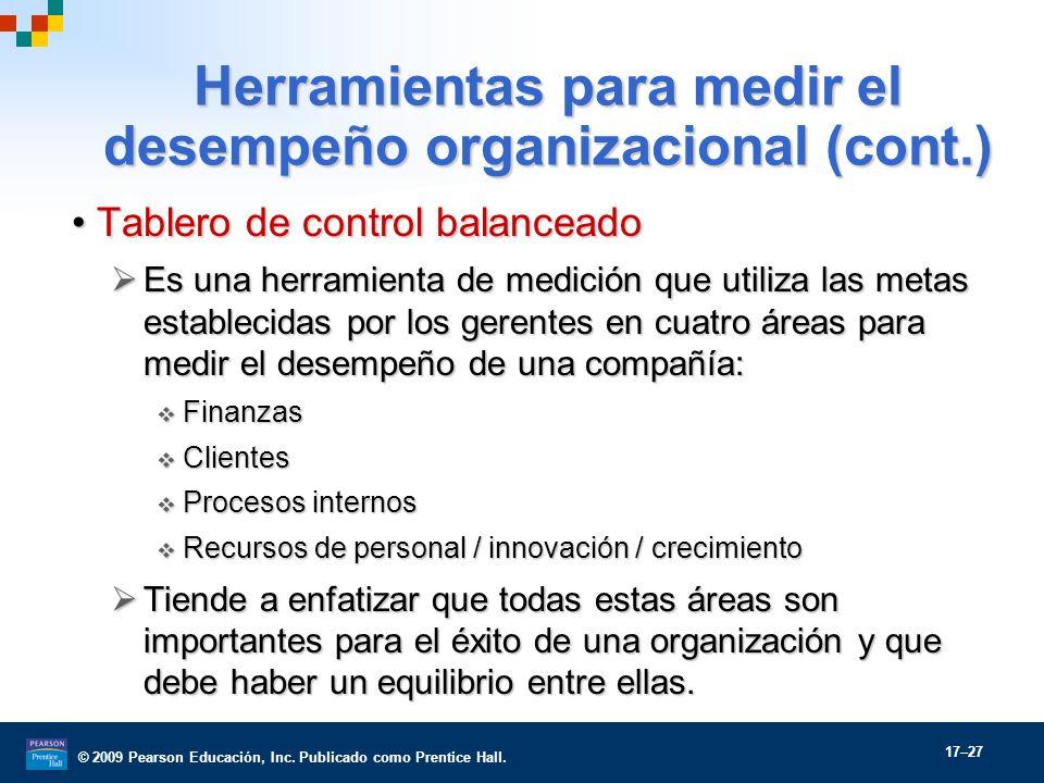 Herramientas para medir el desempeño organizacional (cont.)