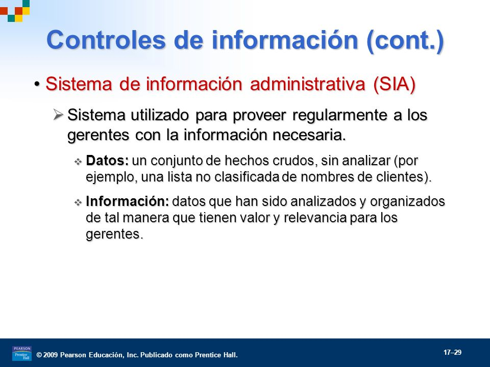 Controles de información (cont.)