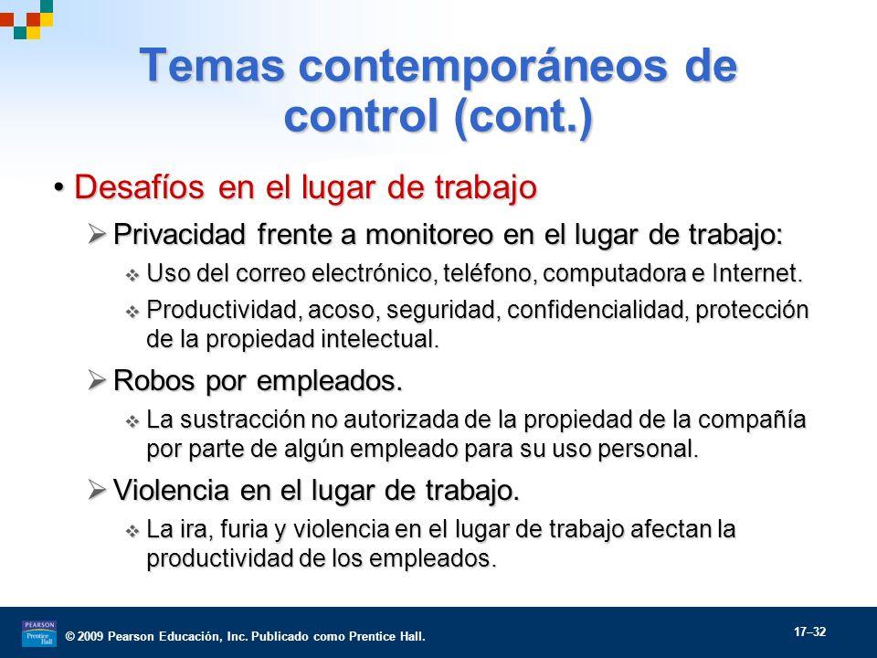 Temas contemporáneos de control (cont.)