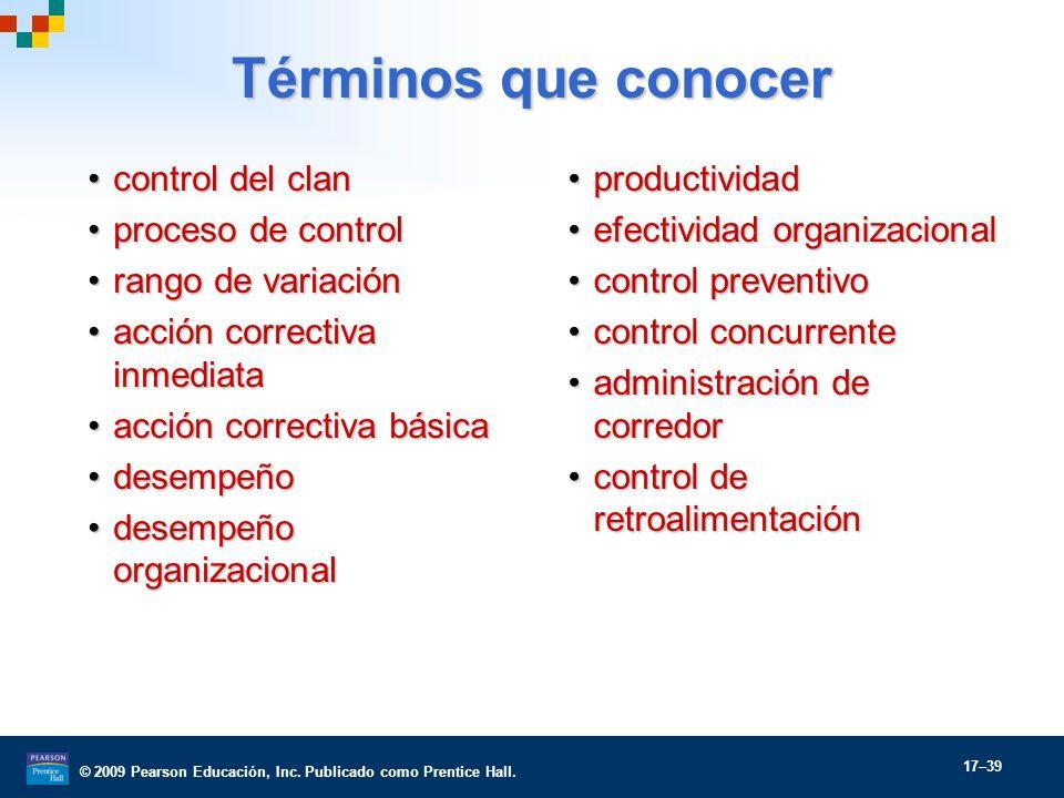Términos que conocer control del clan proceso de control