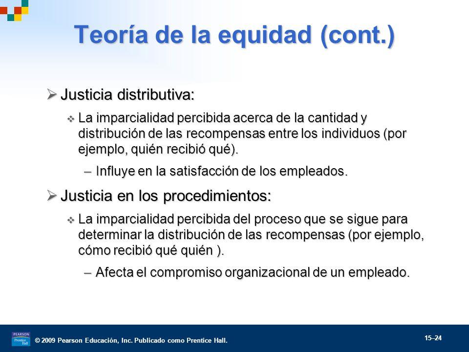 Teoría de la equidad (cont.)