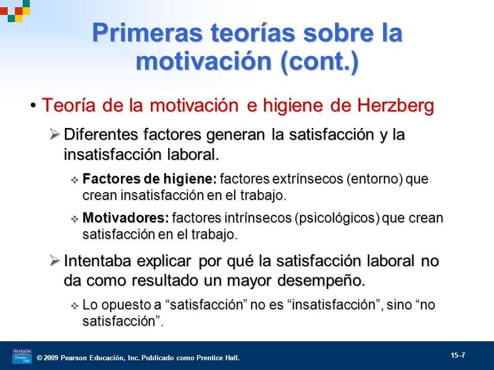 Primeras teorías sobre la motivación (cont.)