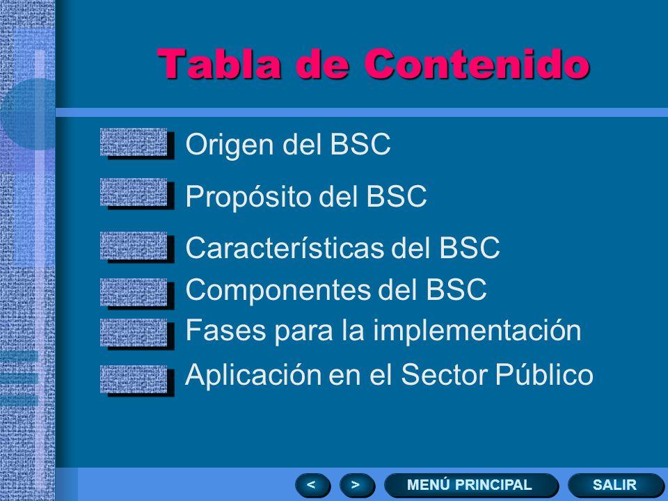 Tabla de Contenido Origen del BSC Propósito del BSC
