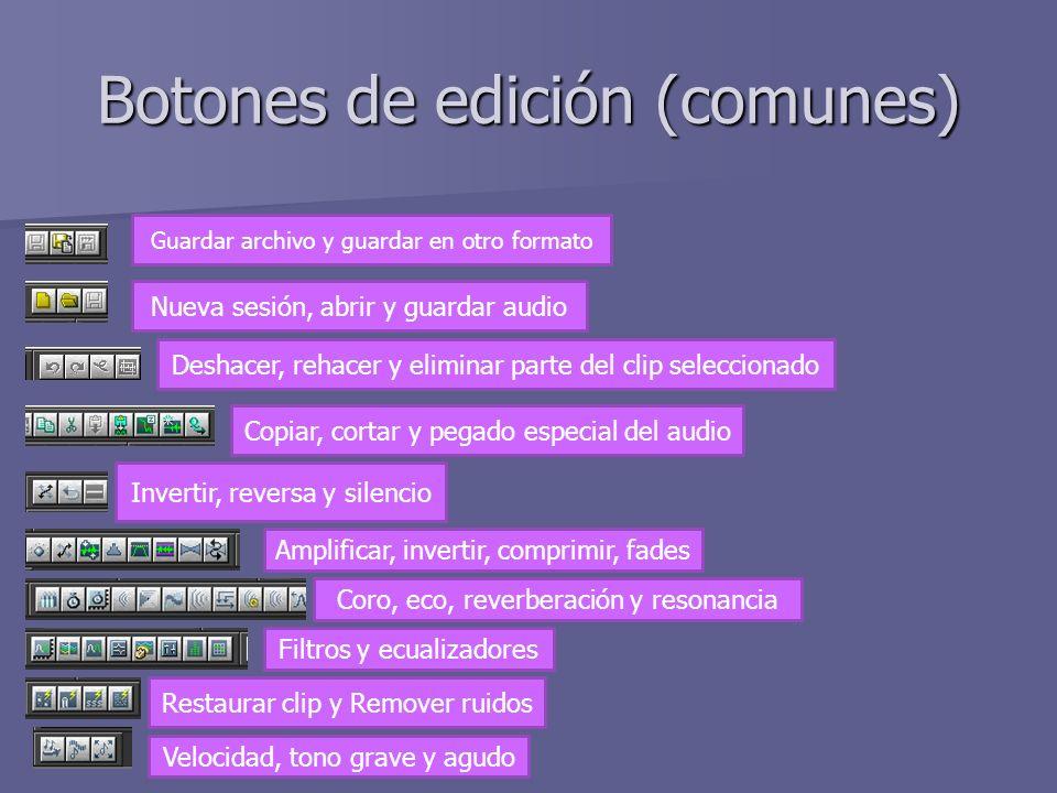 Botones de edición (comunes)