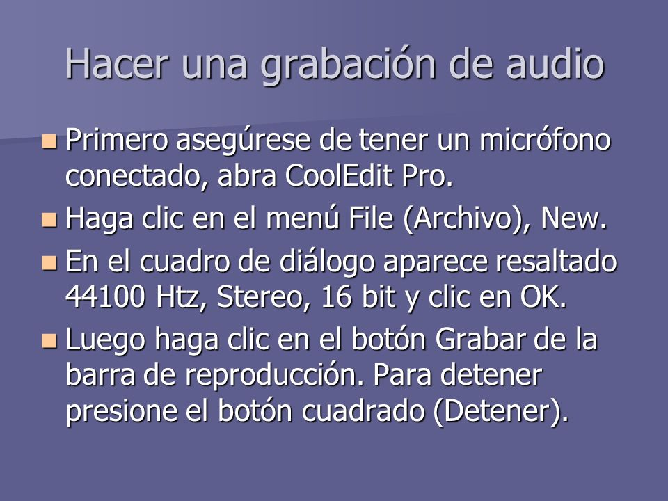 Hacer una grabación de audio