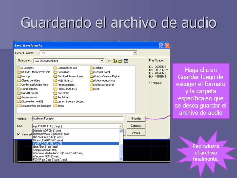 Guardando el archivo de audio