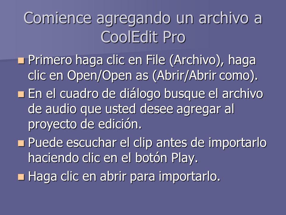 Comience agregando un archivo a CoolEdit Pro