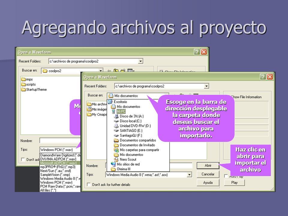 Agregando archivos al proyecto