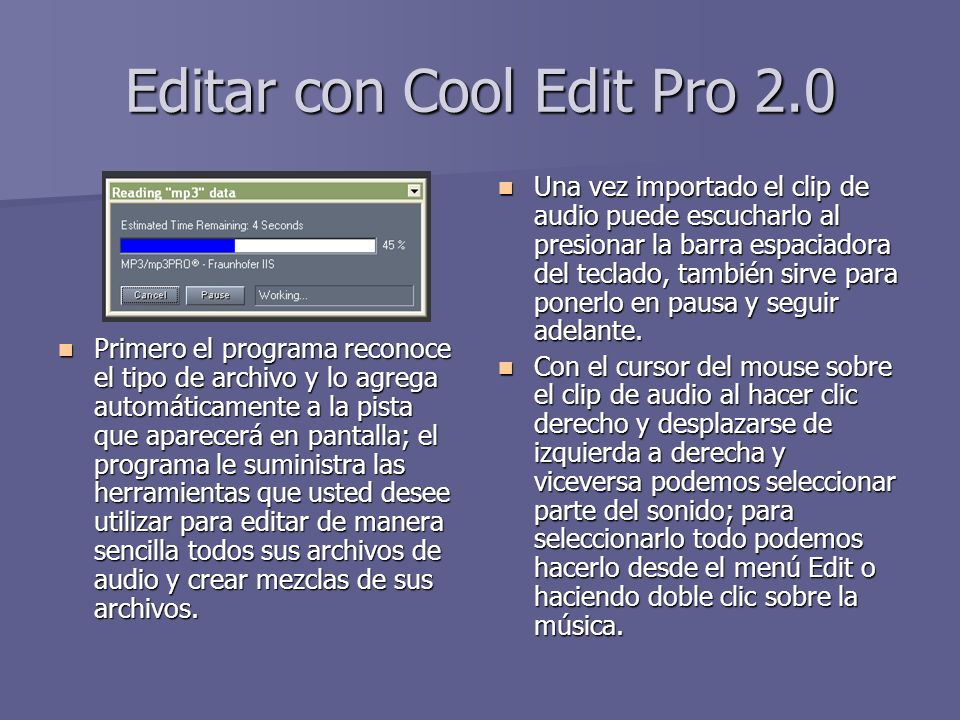 Editar con Cool Edit Pro 2.0