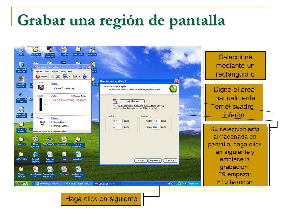 Grabar una región de pantalla