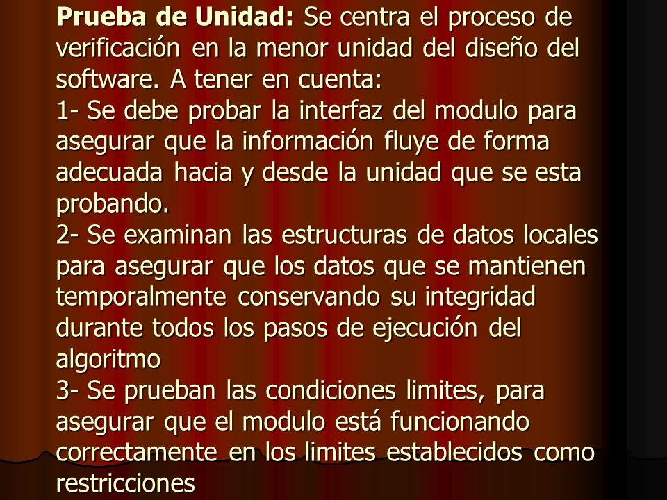 Prueba de Unidad: Se centra el proceso de verificación en la menor unidad del diseño del software.
