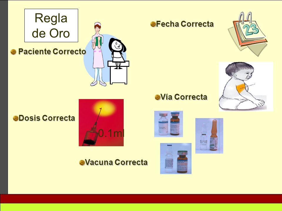 Regla de Oro 0.1ml Fecha Correcta Paciente Correcto Vía Correcta
