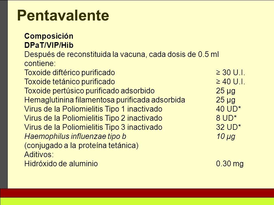 Pentavalente Composición DPaT/VIP/Hib