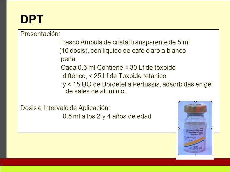 DPT Presentación: Frasco Ampula de cristal transparente de 5 ml