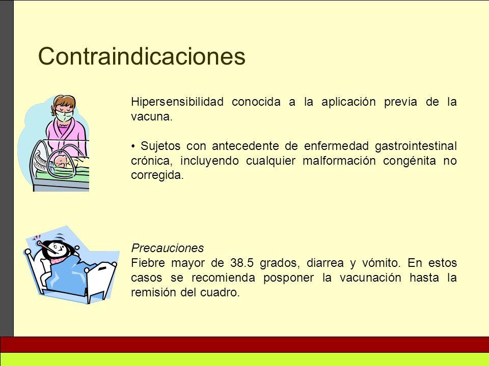 Contraindicaciones Hipersensibilidad conocida a la aplicación previa de la vacuna.