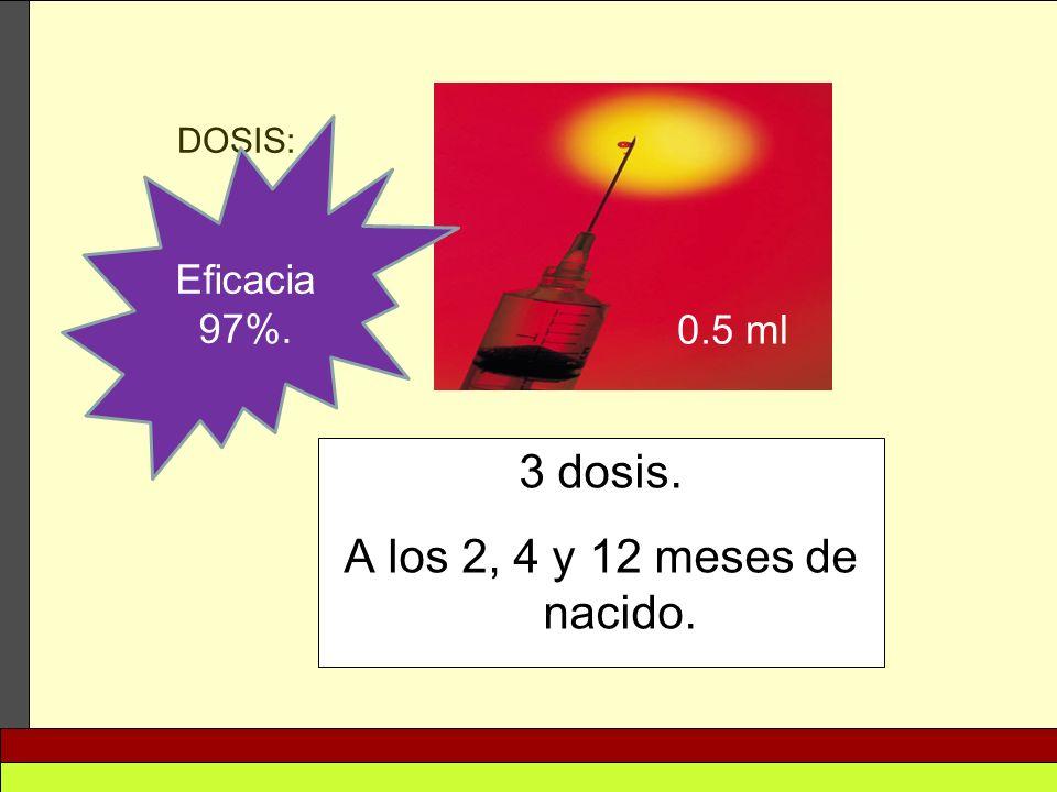 Eficacia 97%. DOSIS: 0.5 ml 3 dosis. A los 2, 4 y 12 meses de nacido.