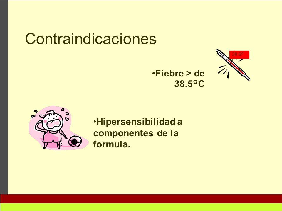 Contraindicaciones Fiebre > de 38.5°C