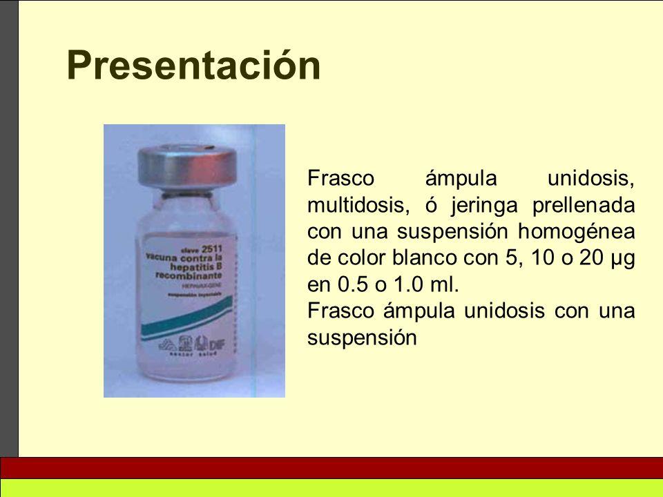 Presentación Frasco ámpula unidosis, multidosis, ó jeringa prellenada con una suspensión homogénea de color blanco con 5, 10 o 20 μg en 0.5 o 1.0 ml.