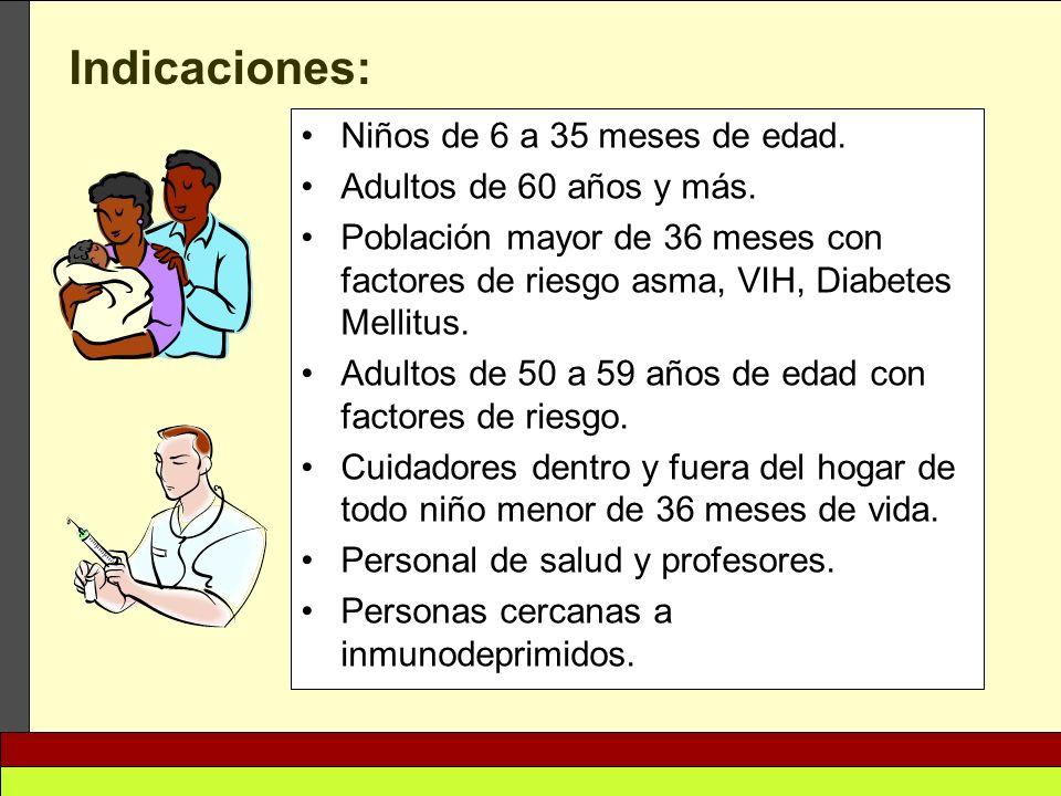 Indicaciones: Niños de 6 a 35 meses de edad. Adultos de 60 años y más.