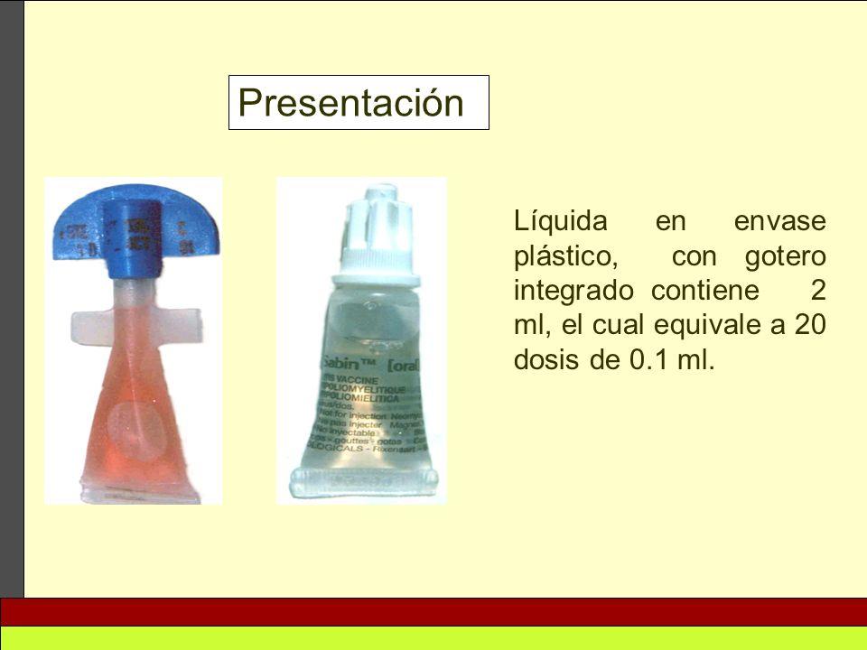 Presentación Líquida en envase plástico, con gotero integrado contiene 2 ml, el cual equivale a 20 dosis de 0.1 ml.