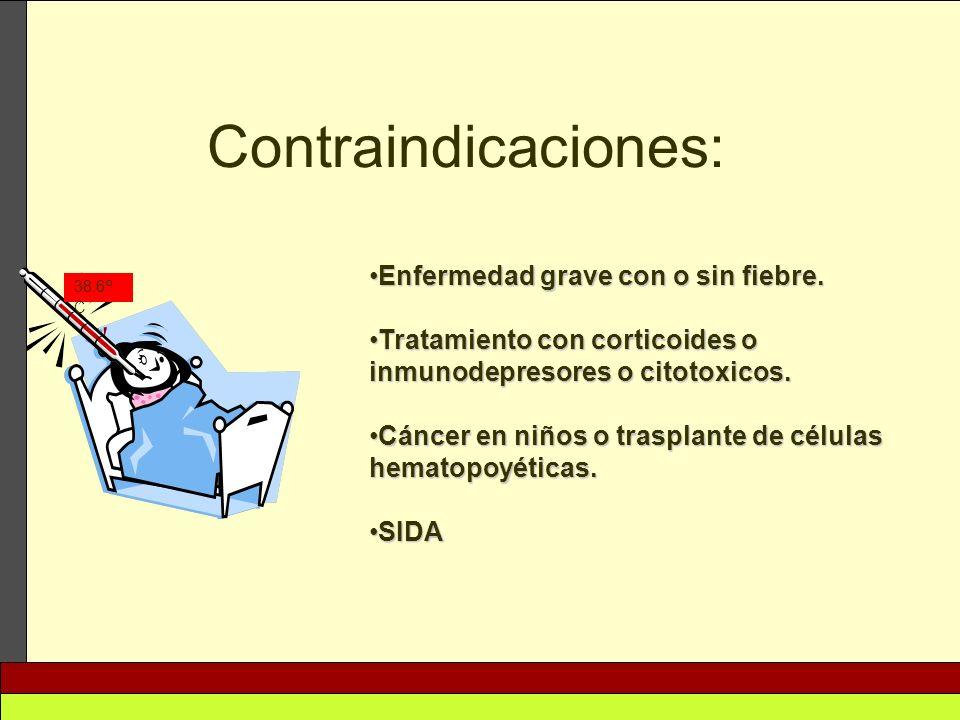 Contraindicaciones: Enfermedad grave con o sin fiebre.