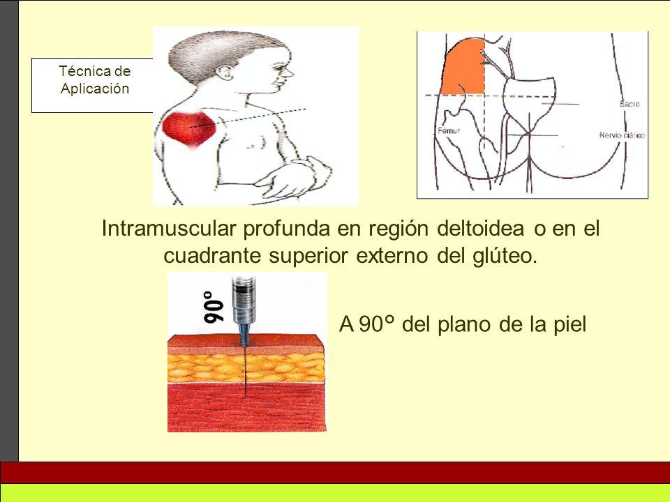 Técnica de Aplicación Intramuscular profunda en región deltoidea o en el cuadrante superior externo del glúteo.