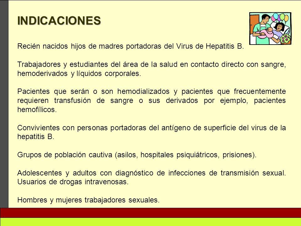 INDICACIONES Recién nacidos hijos de madres portadoras del Virus de Hepatitis B.