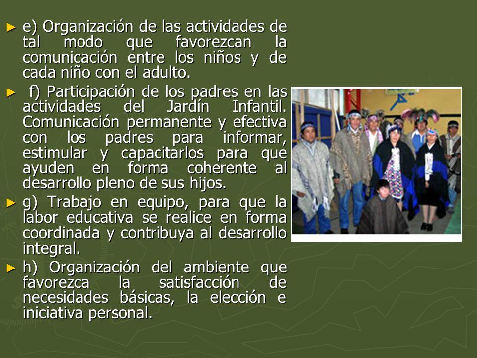 e) Organización de las actividades de tal modo que favorezcan la comunicación entre los niños y de cada niño con el adulto.