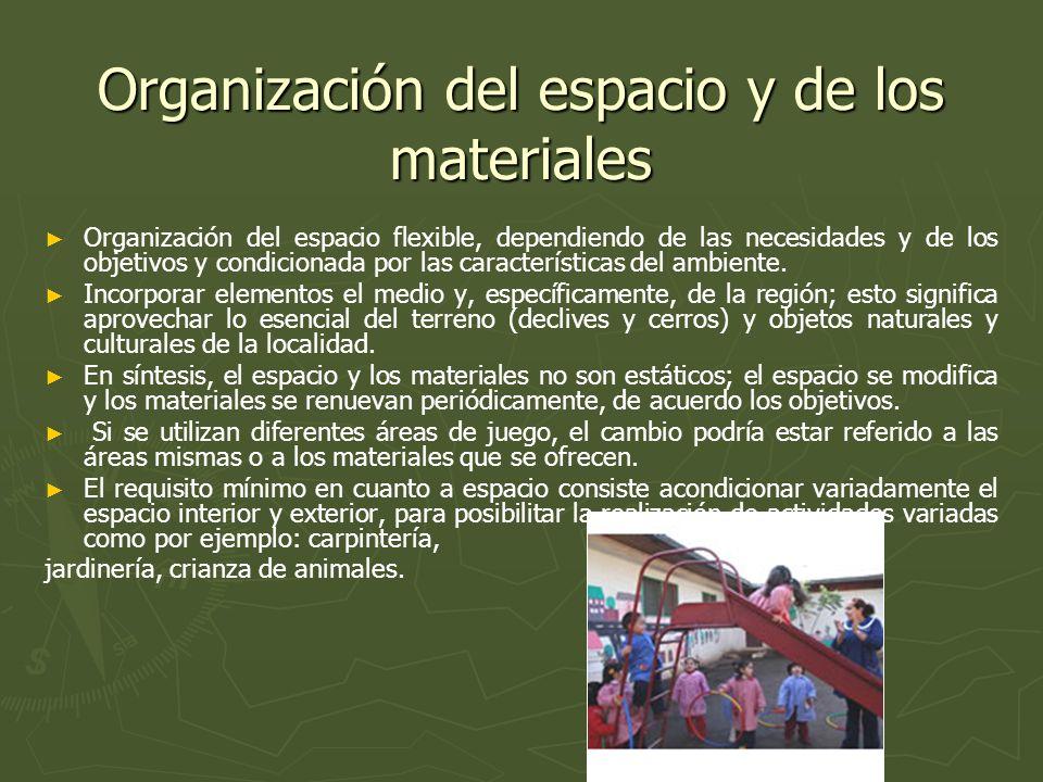 Organización del espacio y de los materiales