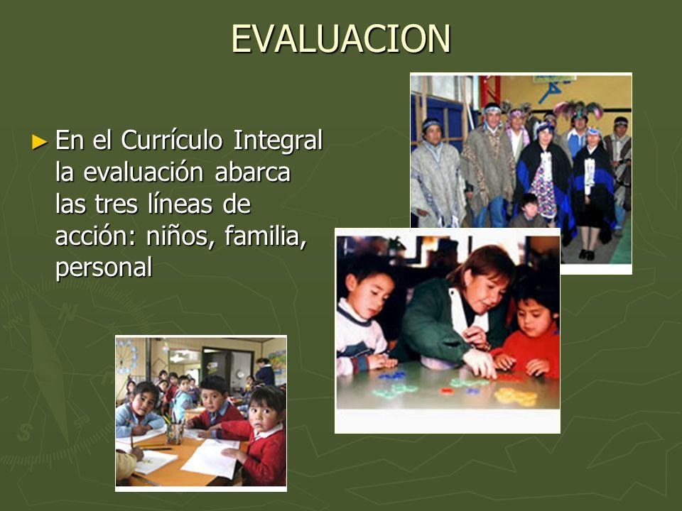 EVALUACION En el Currículo Integral la evaluación abarca las tres líneas de acción: niños, familia, personal.