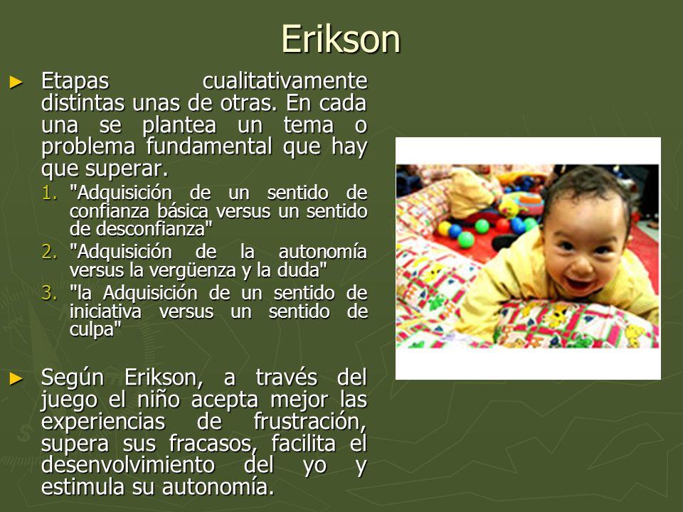Erikson Etapas cualitativamente distintas unas de otras. En cada una se plantea un tema o problema fundamental que hay que superar.