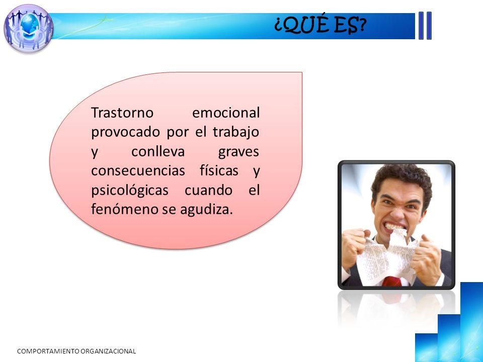 ¿QUÉ ES Trastorno emocional provocado por el trabajo y conlleva graves consecuencias físicas y psicológicas cuando el fenómeno se agudiza.