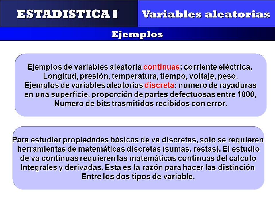 ESTADISTICA I Variables aleatorias Ejemplos CONTROL Y GESTIÓN