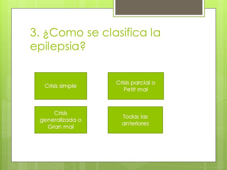 3. ¿Como se clasifica la epilepsia