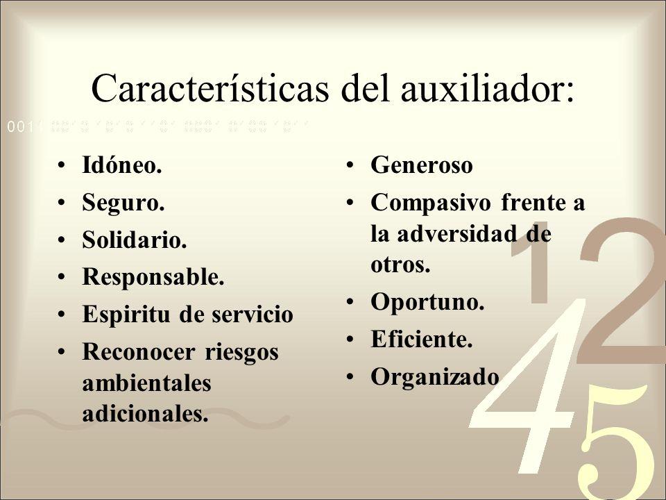 Características del auxiliador: