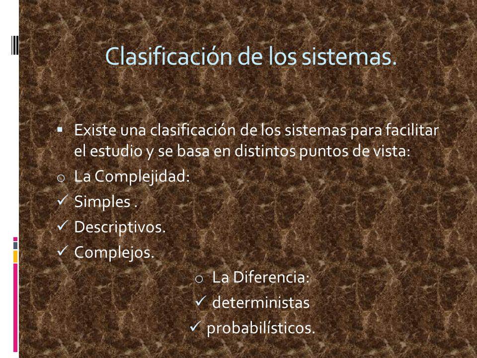 Clasificación de los sistemas.