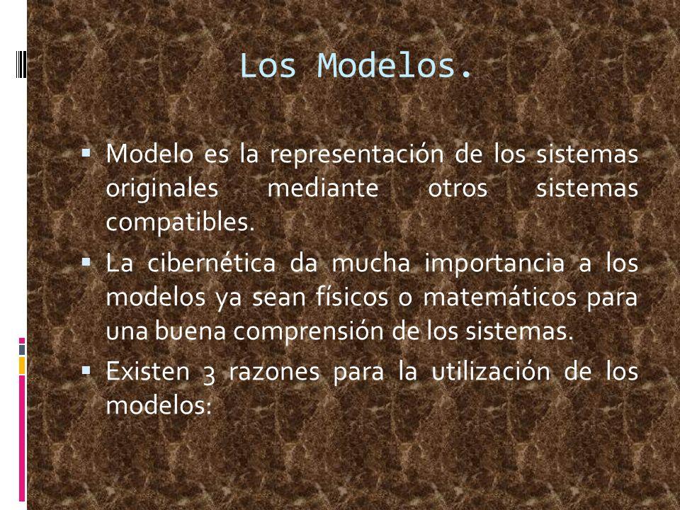 Los Modelos. Modelo es la representación de los sistemas originales mediante otros sistemas compatibles.
