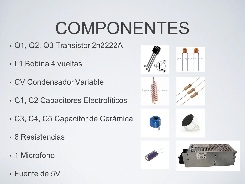 COMPONENTES Q1, Q2, Q3 Transistor 2n2222A L1 Bobina 4 vueltas