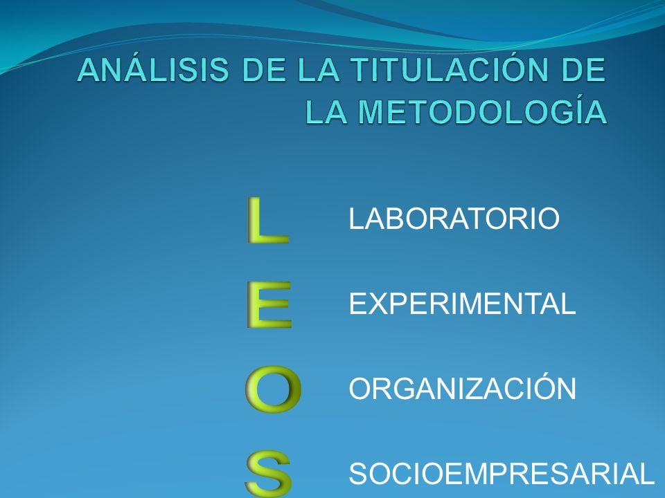 ANÁLISIS DE LA TITULACIÓN DE LA METODOLOGÍA