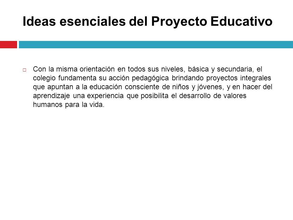 Ideas esenciales del Proyecto Educativo