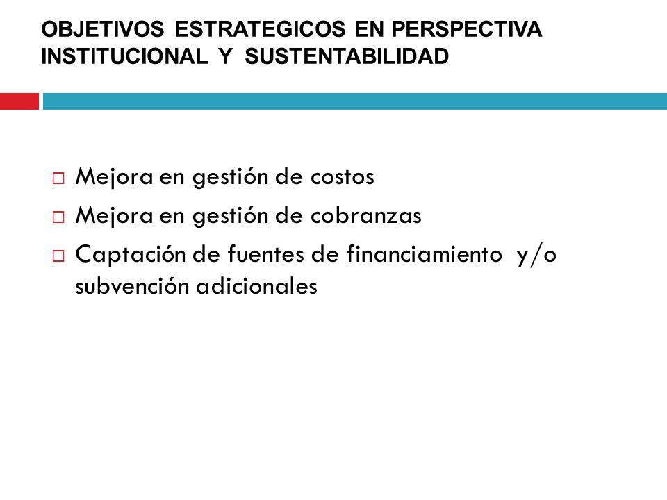 OBJETIVOS ESTRATEGICOS EN PERSPECTIVA INSTITUCIONAL Y SUSTENTABILIDAD