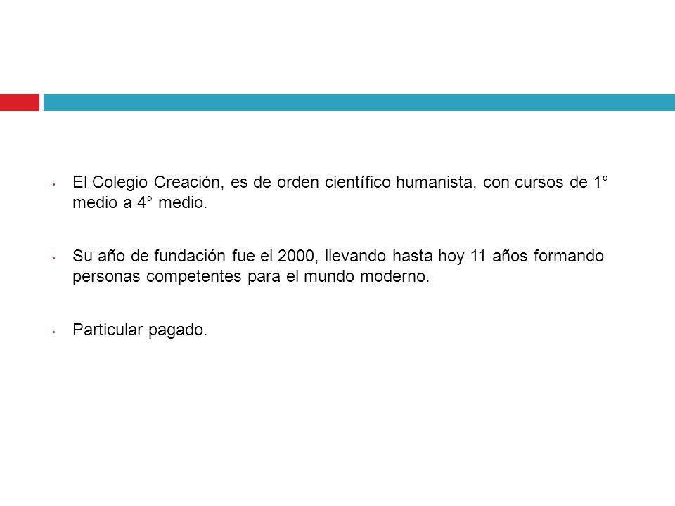 El Colegio Creación, es de orden científico humanista, con cursos de 1° medio a 4° medio.