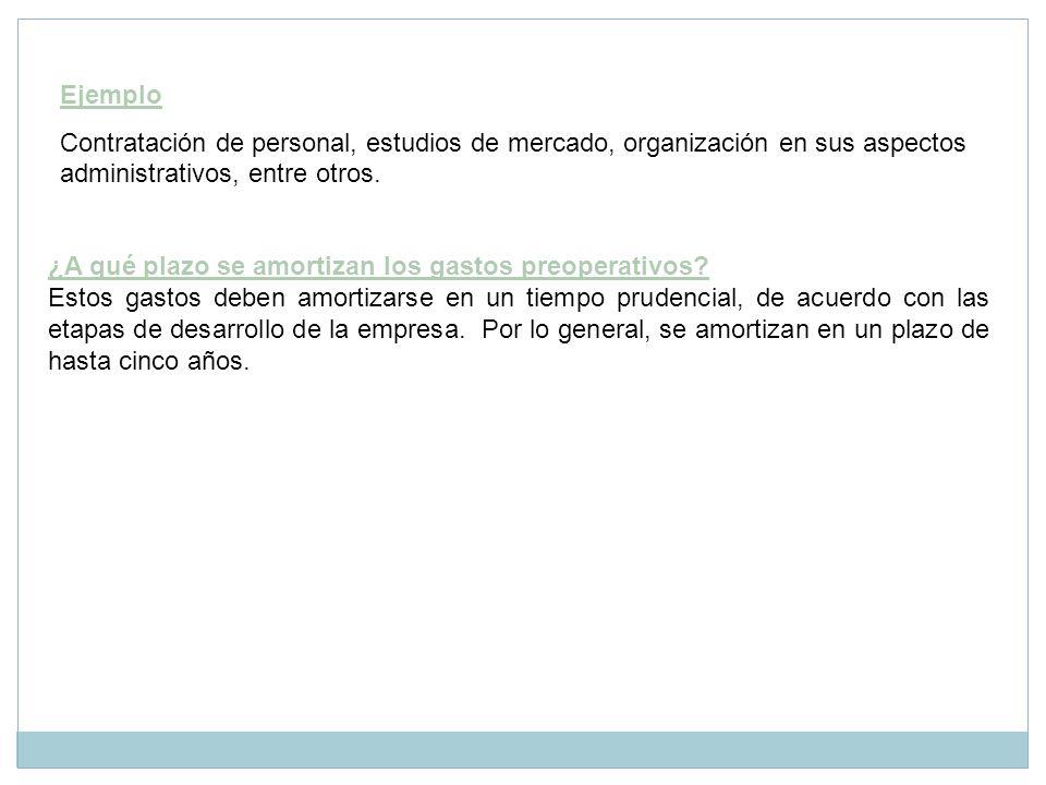Ejemplo Contratación de personal, estudios de mercado, organización en sus aspectos administrativos, entre otros.