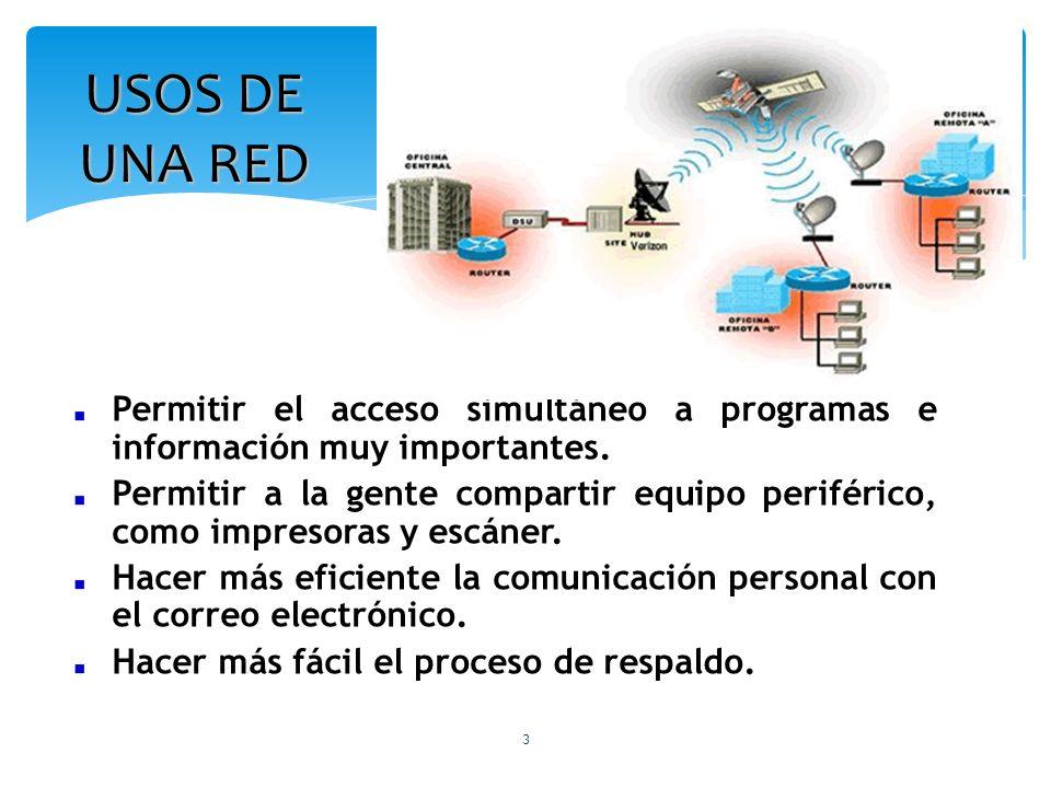 USOS DE UNA RED Permitir el acceso simultáneo a programas e información muy importantes.