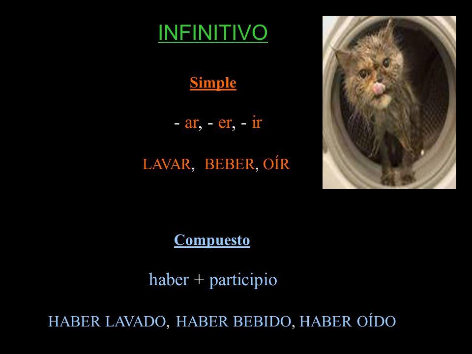 INFINITIVO haber + participio Simple - ar, - er, - ir