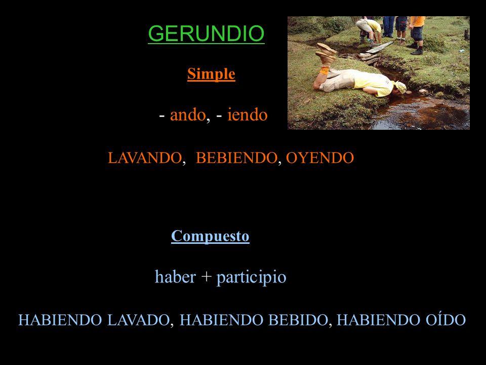 GERUNDIO Simple - ando, - iendo LAVANDO, BEBIENDO, OYENDO Compuesto