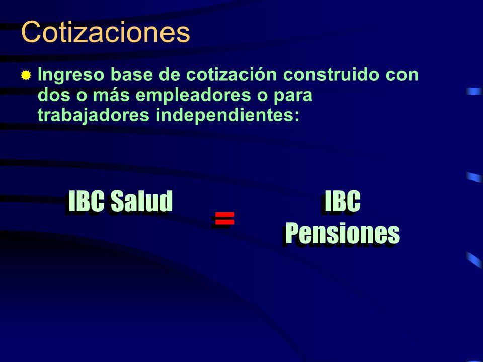 = Cotizaciones IBC Salud IBC Pensiones