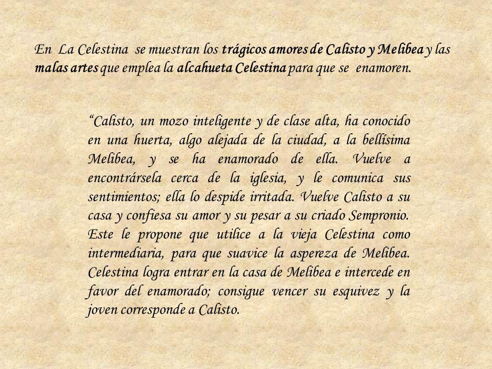 En La Celestina se muestran los trágicos amores de Calisto y Melibea y las malas artes que emplea la alcahueta Celestina para que se enamoren.
